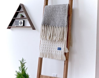 Blanket Ladder | Rustic Wood Quilt Ladder | Early American Stained | Towel Hanger | Living Room Decor | Bathroom Decor