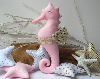 Plush Seahorse toy, stuffed seahorse, seahorse pillow, pink, white gold palette. Cute & child friendly soft toy. Baby shower, bithday  gift