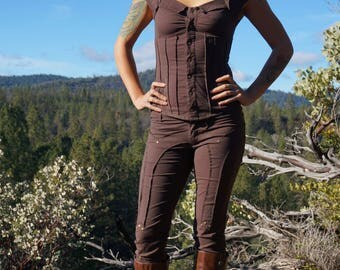 Ladies Fitted Pants -  Brown, Leggings, Light Weight Pants Steampunk Festival Clothing Burning Man Summer pants, Hipster, Wanderlusts Pants