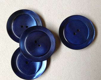 Vintage Blue Coat Buttons, Millinery Supplies, Large Vintage Coat Buttons