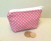 Coin purse pink with white spots change purse ladies coin purse cotton coin purse tiny coin purse spotty change purse zipped pouch