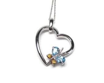 Vintage 14K Topaz Citrine Butterfly Heart Pendant Necklace