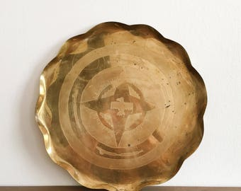 Vintage Brass Tray with Etched Bird Design - Gold Tray