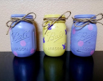 Easter Mason Jars - Spring Mason Jars - Easter Decor - Spring Decor - Mason Jar Decor - Mason Jars Decor - Easter - Easter Centerpieces -