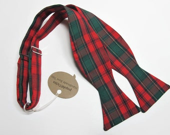 Freestyle Red, Green, and Gold Plaid Bow Tie - Christmas Bow Tie - Self-Tie Bow Tie - Red Plaid Bow Tie - Green and Red Plaid Bow Tie