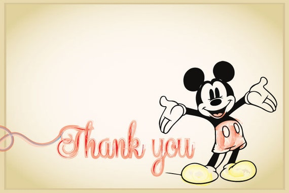Classic Mickey Mouse or Minnie Mouse Birthday Thank You Cards (DIGITAL COPY)