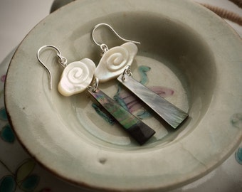 Mother of pearl earrings, Asian jewelry, Ancient chinese jewelry, Elegant earrings, White shell earrings, Carved cloud earrings, Chinoiserie