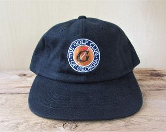 Vintage 90s The GOLF CLUB Of GEORGIA Black Strapback Hat Country Club Golfing Alternative Headwear Cap Embroidered Ballcap