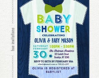 onesie baby shower invitation boy, little man baby shower invitation, bow tie lime green navy blue, digital printable baby shower invitation