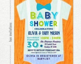 onesie baby shower invitation for boy, orange lime green blue bow tie baby shower invitation, little man printable baby shower invitation