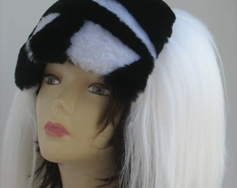 Real fur hat white/black Women's Winter Hat  Womens hats trendy Fur Hat  Russian FUR HAT muton fur sheep fur  bumpy burning man clothing