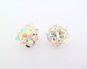 Vintage Faceted Aurora Borealis Crystal Bead Cluster Clip On Earrings
