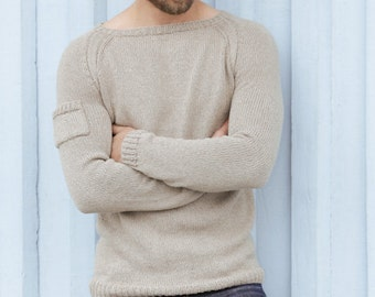 Crew neck sweater, knit sweater in cotton and linen, Knitted jumper for men,  Hand knitted sweater,