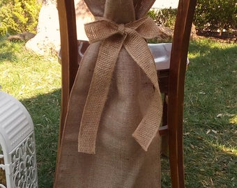Burlap Chair Sash - Chair Swag - Burlap Chair Cover - Burlap Chair Tie - Wedding Chair Sash - Rustic Wedding Chair Sash - Set of 4