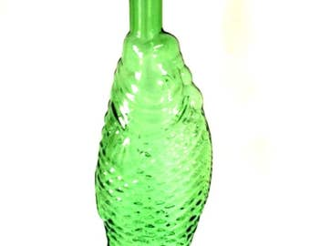 Fish Wine Bottle Decanter 13.25 inches Green Glass Vintage Stamped 77A Cevin 75 CL 3