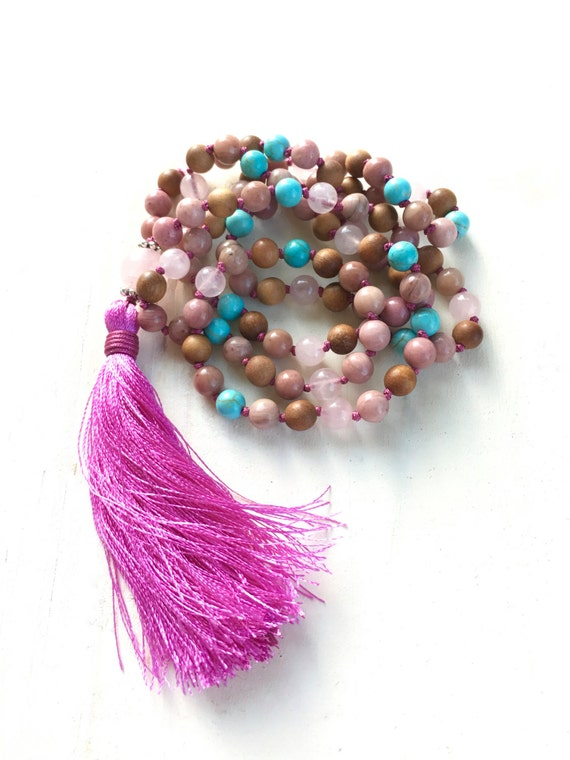 Gypsy Tassel Necklace, Pink Bohemian Necklace, Tassel Jewelry, Long Beaded Necklace, Yoga Inspired Jewelry, Mala Beads, Mala Necklace, Boho