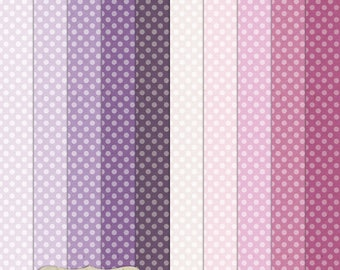 """Digital Printable Scrapbook Craft Paper - A4 - Polka Dots in Purple Shades - 8.5 x 11"""" - PU/CU Commercial Use"""