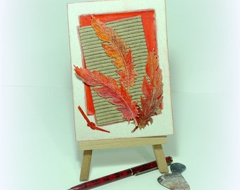 Unique handmade card Red feathers card Man card Hand painted card Feather card Greeting card Handmade art card Card for a man mcrtycards UK