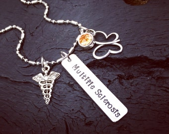 Multiple Sclerosis Necklace | Multiple Sclerosis Jewelry | Medical Alert Necklace | Medical Alert Jewelry | Multiple Sclerosis Awareness