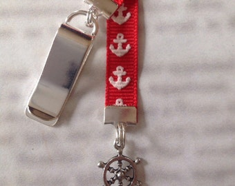 Ship Wheel bookmark with clip - Attach clip to book cover then mark the page with the ribbon. Never lose your bookmark!