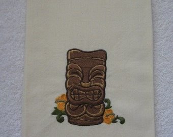 TIKI TOWEL.Polynesian Tiki. Tiki Carving.Hawaiian TIKI. Kitchen Towel.Tea Towel.Cotton Towel.Embroidered Towel. Tiki. Polynesian.
