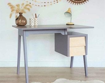 SALES - Mid century desk, desktop, Desk, Vintage and Scandinavian style, mid century modern, work table, color gray taupe, Ulysse model