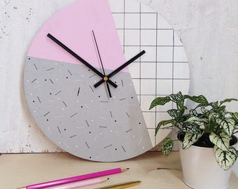 Pastel Pink Wall Clock | Geometric Wall Clock | Modern Gifts For Her | Home Decor | Wall Art