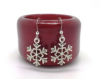 Snowflake Earrings, Silver Snowflakes, Winter Christmas Earrings, Lightweight,  Stocking Stuffers for Women, Gifts Under 10