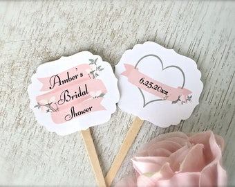 Bridal shower cupcake toppers, personalized cupcake topper, cupcake picks, bridal shower, cupcake decoration, party supplies  -10 count(ct9)