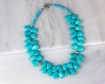 Turquoise Bib Necklace/ Blue Bib Necklace/ Chunky Bib Necklace/ Boho Bib Necklace/ Wedding Bib Necklace/ Tribal Bib Necklace