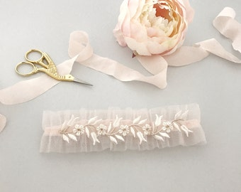 Wedding garter, Blush wedding garter, Pink wedding garter, Pink bridal garter,