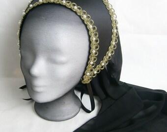 French Hood Tudor Renaissance LARP Medieval Wedding Anne Boleyn