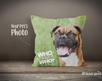 Custom Pet Pillow - Personalized Dog Pillow - Custom Dog Pillow - Custom Pet Pillow - Funny Pillow - Who Rescued Who - Rescue Dog - Pitbull