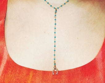 Turquoise Drop Down Horseshoe Necklace