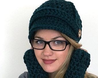 Newsboy Cap in Custom Colors - Women's Newsboy Hat - Crochet Hat with Visor - Handmade Newsboy Cap - Women's Winter Hat with Brim