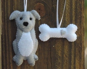 Pitbull Ornament, Felt Ornaments, Christmas Ornament, Felt Dog Ornament, Blue Pit Bull Puppy, Blue Nose Pit Bull, Pit Terrier Pup, Gray Dog