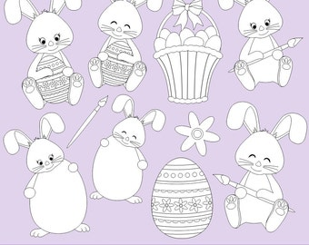 80% OFF SALE Easter Bunny Digital Stamps, Easter Digital Stamps, Digi Stamps, Easter Clipart, Bunny Clipart, Printable, Commercial Use