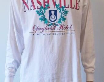 vintage 80s/90s nashville tennessee opryland hotel longsleeve turtleneck white shirt men's medium