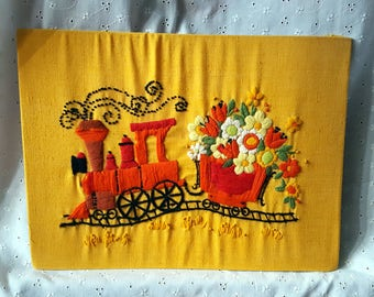 Vintage Crewel Embroidery, Train & Flowers, Yellow, Orange, Children's Room Wall Hanging