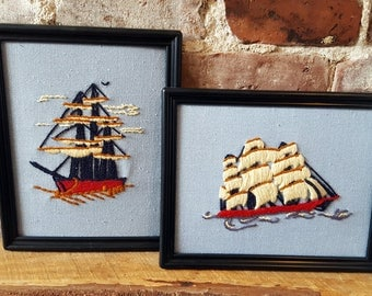 Vintage Crewel Embroidery Pair, Sailing Ships, Nautical, Blue
