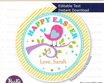 Editable Easter Tag , Printable Party Favor Sticker, Cute Bird in a Branch Tag, Round or Square Topper, Instant Download -D258 HOEA1