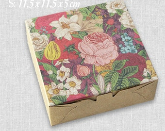 30 pcs Floral Abundance Painting Kraft Paper Boxes -DIY Craft Jewelry Baking Soap Packaging - Wedding Party Gift Boxes