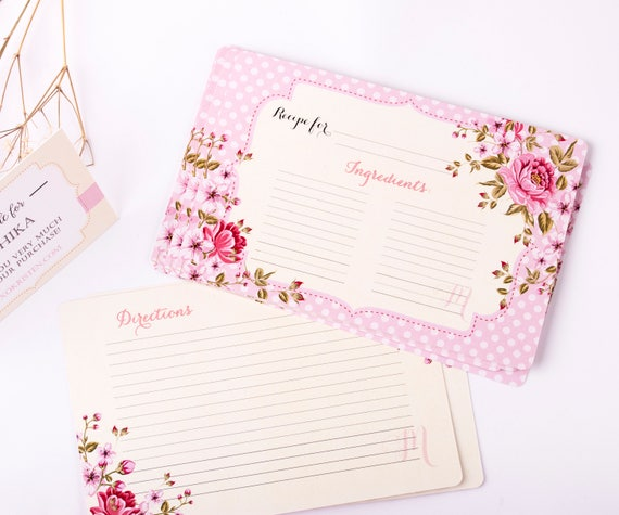Floral Recipe Cards, Printed 4 x 6 Recipe Cards, Custom Recipe Cards, Bridal Recipe Cards, Monogram Double Sided Recipe Cards 36CT