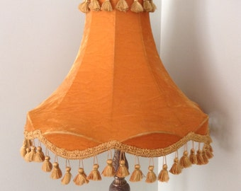 Vintage Lamp Shade, Velvet Gold Lamp Shade, Velvet Lamp Shade, Pom Pom Lamp Shade, Valour Lamp Shade, Bell Shape Lamp Shade, Bell Shade