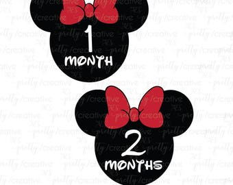 Month by Month Baby Stickers - Minnie Mouse Disney Inspired