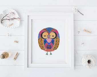 Golden Rose Owl, Watercolor Art Print