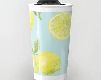Lemons Travel Mug - Coffee Mug - Citrus Travel Mug - Gift For Women - Aldari Home