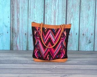 Guatemalan huipil tote bag shoulder purse pocketbook suede textile geometric fair-trade fair trade