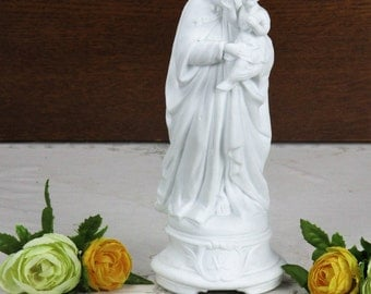 Gorgeous Antique 1900 Vieux Paris Porcelain Statue Virgin Mary Garland 9.45""