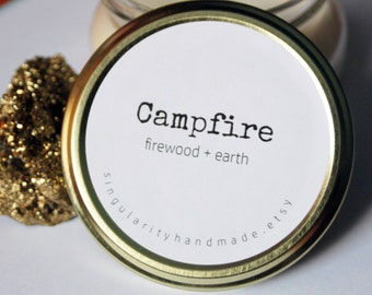 Campfire Soy Candle // 7oz candle // tureen jar // hand poured // burns for over 60 hours! // stocking stuffer // holiday gifts // camping
